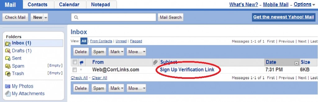 Corrlink Signup Verification email